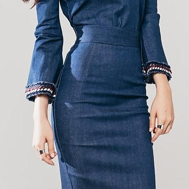 レディース 海外 インポート インディゴ デニム オフショル トップス スカート セットアップ ワンピース ドレス