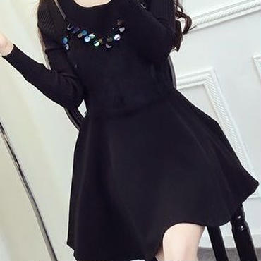 レディース ブラック ふわふわ ファー 付き ビスチェ フレア ワンピース ドレス