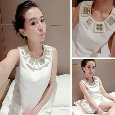 海外インポートセレクトホワイトビジューラインストーン付きミニワンピースドレス白色