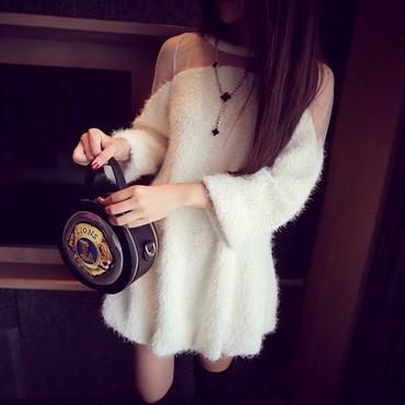 海外 インポート セレクト ホワイト シースルー デザイン ニット ワンピース ドレス 白 ふわふわ もこもこ