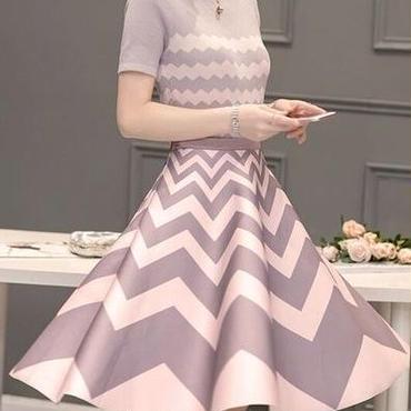 海外 インポート グレー ピンク ニット フレアー ミモレ 丈 スカート セット アップ ワンピース パーティー ドレス