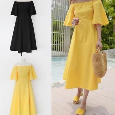 レディース 海外 インポート イエロー コットン オフショル フレア ミモレ丈 ワンピース ドレス 黄色
