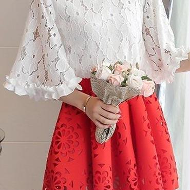 海外インポートホワイトフラワーレーストップスレッドスカートセットアップワンピースドレス赤色