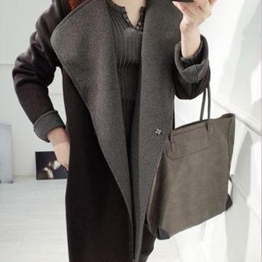 海外インポートブラックグレーバイカラーデザインジャケットコートきれいめ大人