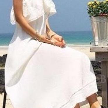 レディース 海外 インポート ホワイト コットン フリル マキシ ワンピース ドレス ロング 丈 白