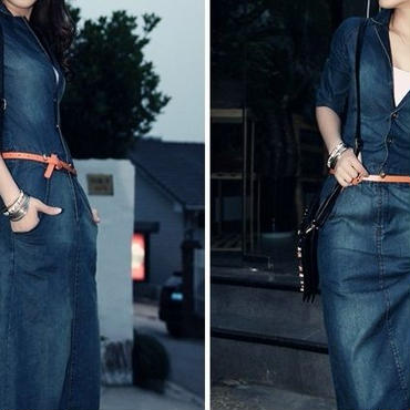 レディース インディゴ デニム レザー ベルト 付き ロング 丈 ワンピース ドレス