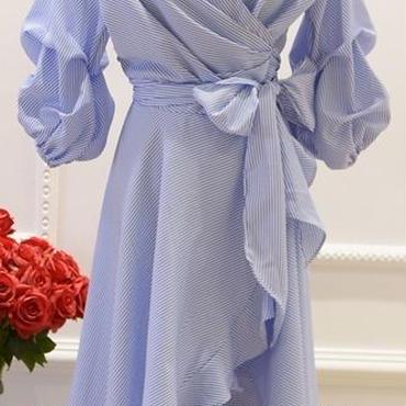 レディース ブルー ホワイト コットン ストライプ シャツ カシュクール フリル ミモレ 丈 ワンピース 青 白