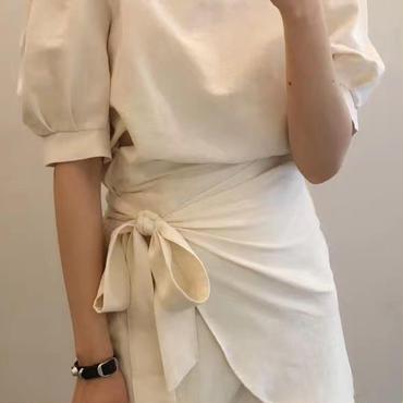 レディース 海外 インポート ホワイト パフ スリーブ 巻 スカート デザイン ワンピース ドレス 白