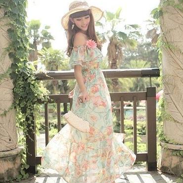 acce35bd234af 海外インポートグリーン系フラワー柄シフォンフリルマキシワンピースドレス