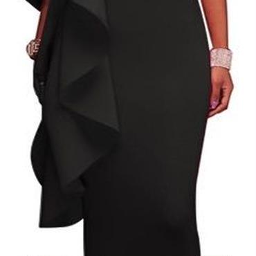 レディース ブラック フリル デザイン タイト ワンピース パーティー ドレス ロング 丈 黒