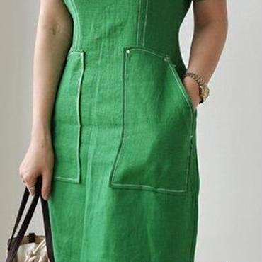レディース 海外 インポート グリーン シンプル ミディ ひざ 下 丈 ワンピース ドレス 緑