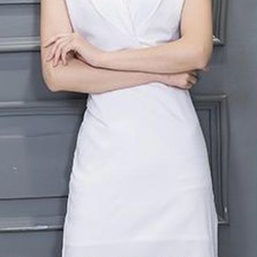 海外インポートホワイトシンプルデザインワンピースパーティードレス白色
