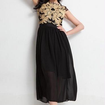 海外インポートセレクトブラックゴールド刺繍デザインマキシワンピースドレス黒色