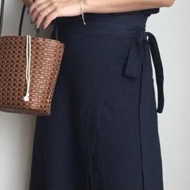 レディース 海外 インポート ネイビー トップス ミモレ丈 巻 スカート セットアップ ワンピース ドレス