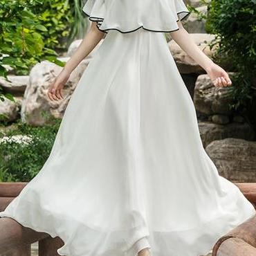レディース ホワイト シフォン フリル ポンチョ デザイン マキシ ワンピース ドレス ロング 白