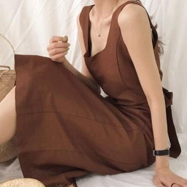 レディース 海外 インポート ブラウン キャメル コットン 腰ひも ベルト 付き マキシ ワンピース ドレス ロング 丈