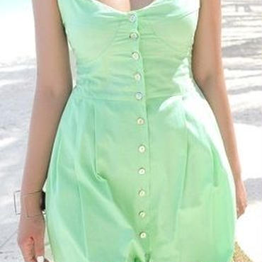レディース 海外 インポート グリーン コットン キャミソール ミモレ 膝 下 丈 ワンピース ドレス
