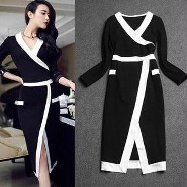 海外インポートセレクトブラックホワイトバイカラーデザインセクシーワンピースドレス白黒色