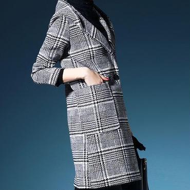 海外 インポート ブラック ホワイト グレー チェック ウール 混 ジャケット コート