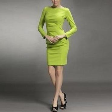 海外インポートセレクトグリーン膝丈タイトワンピースドレス