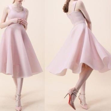 レディース ベビー ピンク チュール フレア ミモレ 丈 ワンピース パーティー ドレス