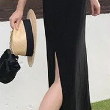 レディース 海外 インポート ブラック T シャツ マキシ ワンピース ドレス ロング 丈