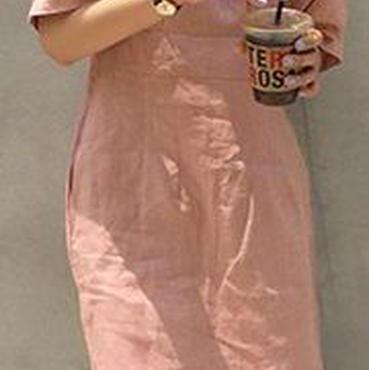 レディース 海外 インポート ベビー ピンク ミディ 膝 下 丈 シンプル ワンピース ドレス