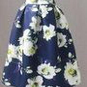 レディース ネイビー ホワイト フラワー 柄 フレア ミモレ 膝 下 丈 スカート 花柄