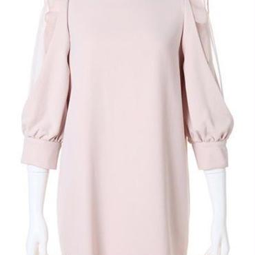 海外インポートピンクベージュサイドシフォンフリルシースルーデザインワンピースドレス