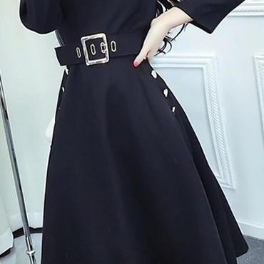 海外 インポート セレクト ブラック ベルト付 フレアー ワンピース ドレス 上品 黒