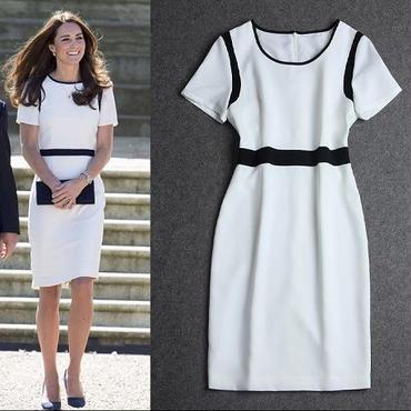 海外インポートセレクトホワイトブラックデザインキャサリン妃ワンピースドレス