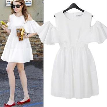 海外インポートセレクトホワイトシフォン肩だしデザインワンピースドレス白色