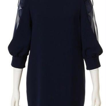 海外インポートネイビーサイドシフォンフリルシースルーデザインワンピースドレス紺色