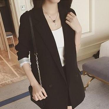 海外インポートセレクトブラックロングジャケットコートショートパンツスーツセットアップ黒色