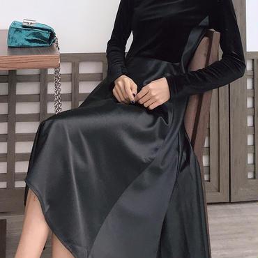 レディース ベロア 切り替え フレア ワンピース パーティー ドレス 黒 長袖