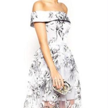 海外インポートホワイトグレーフラワーオフショルダーデザインオーガンジーシースルーワンピースパーティードレス花柄