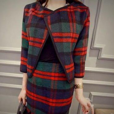 海外インポートセレクトグリーンレッドタータンチェックジャケットスカートスーツセットアップ