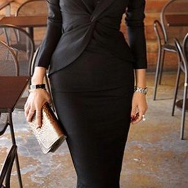 海外インポートブラックカシュクールデザインレースベア付きワンピースパーティードレス黒色