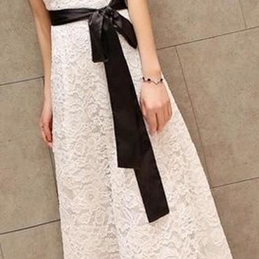 レディース ホワイト フラワー 総 レース デザイン ベルト 付き マキシ ワンピース ドレス ロング 白