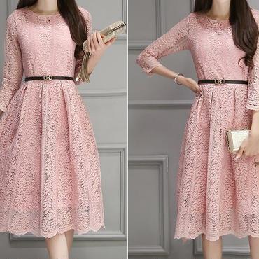 レディース ベビー ピンク 総 レース デザイン ベルト 付き ワンピース ドレス
