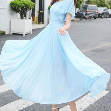 レディース 海外 インポート パステル ブルー フリル シフォン マキシ ワンピース ドレス ロング 水色