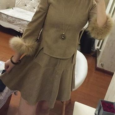 海外インポートベージュスウェード風ファー付セットアップワンピースドレス
