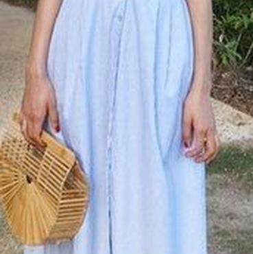 レディース 海外 インポート ブルー ホワイト コットン ストライプ ミモレ 膝 下 丈 キャミソール ワンピース ドレス