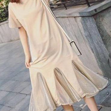 レディース 海外 インポート ベージュ コットン Tシャツ シースルー デザイン 膝下丈 ワンピース ドレス
