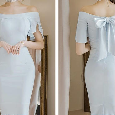 レディース 海外 インポート パステル ブルー オフショル ワンピース ドレス