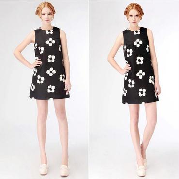 海外インポートセレクトブラック×ホワイトバイカラーフラワータンクワンピースドレス黒白花柄