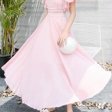 レディース ピンク フリル デザイン マキシ ワンピース ドレス ロング