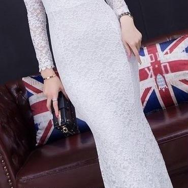 レディース ホワイト 総 フラワー レース マキシ ワンピース パーティー ドレス ロング 丈 白 長袖
