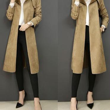 レディース ブラウン バイカラー デザイン 腰ひも ベルト付き ガウン ジャケット コート ロング 茶色