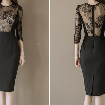 レディース 海外 インポート ブラック ベージュ フラワー レース デザイン ワンピース ドレス